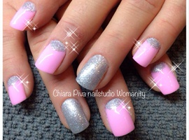 Moon Manicure: Glitter Silver And Pink