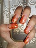 Pink Orange Glitters Nails