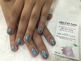 Gel Manicure With Hand Painted Design