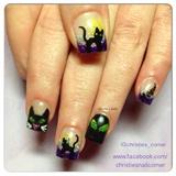 Black Cat Halloween Nails