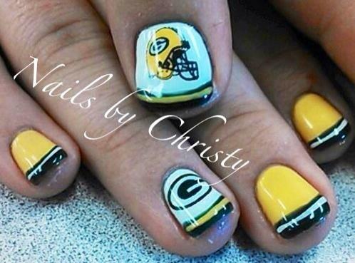 Green Bay Packer Football Nails Nail Art Gallery