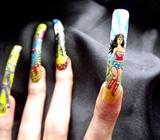 Wonder woman nail art figure.