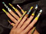 DC Comic strip nail art