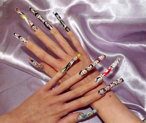 80's music nail art, full line up..