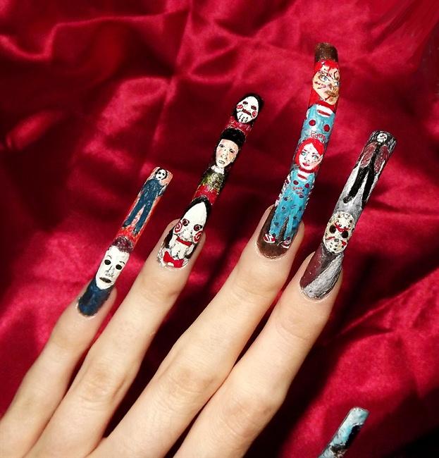 Horror movie character nail art. - Nail Art Gallery
