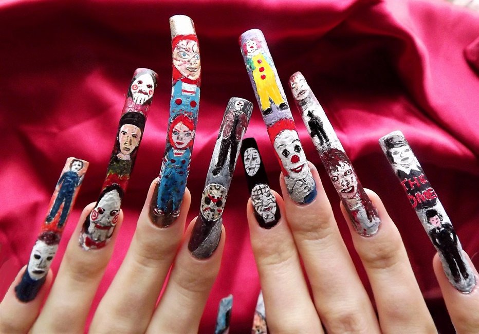Horror movie character nail art.Full - Nail Art Gallery