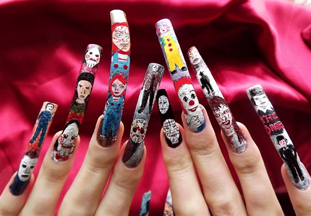 Horror movie character nail art.Full