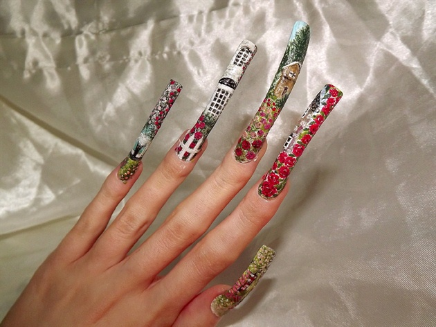 Rose garden nail art