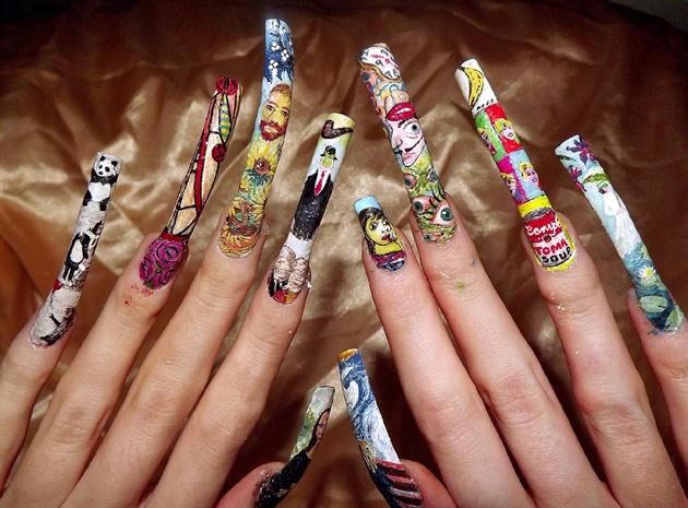 Full line up of famous artist nail art..