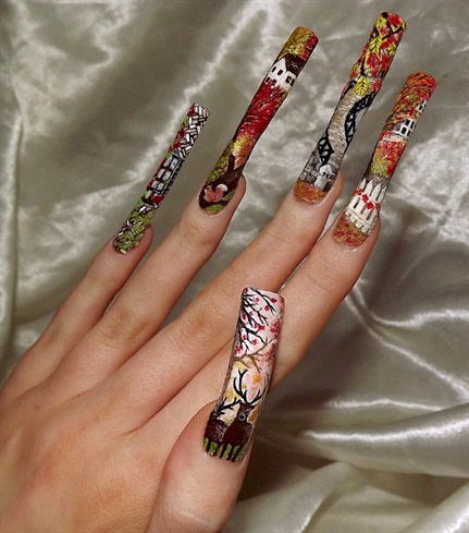 More of the autumn nail art.