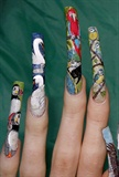 Bird theme left hand close up..