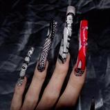 Dominitrix nail art; left close up