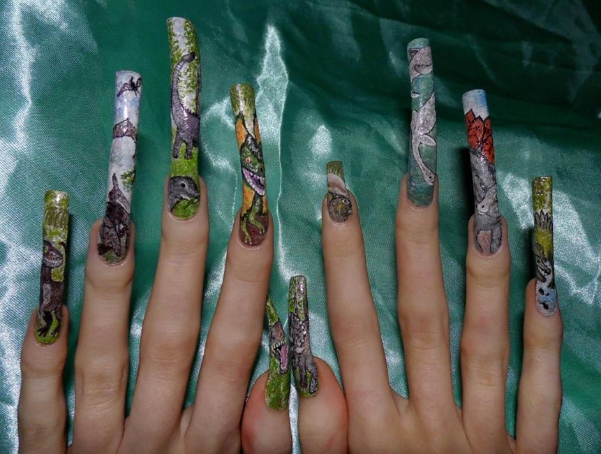 Dinosaur nail art theme, full line up design. - Nail Art Gallery
