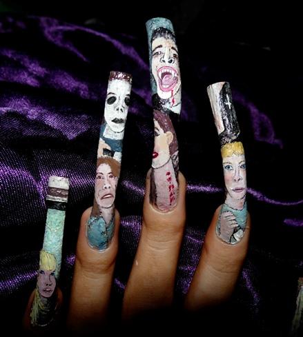 Halloween horror -left hand art close up