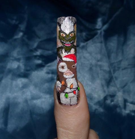 Christmas movies nail art.. Gremlins