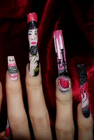 Anti Valentine's nail art theme
