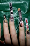 Alcohol, liquor nail art right close up