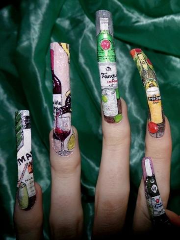 Alcohol/liqour nail art left close up.