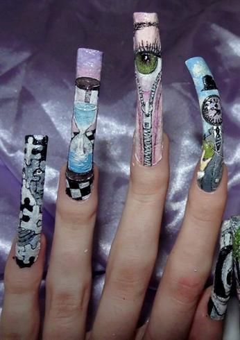 Surrealism nail art..left close up