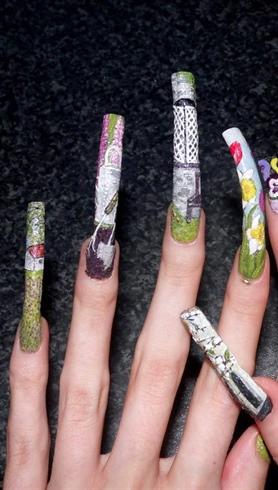 Garden themed nail art.