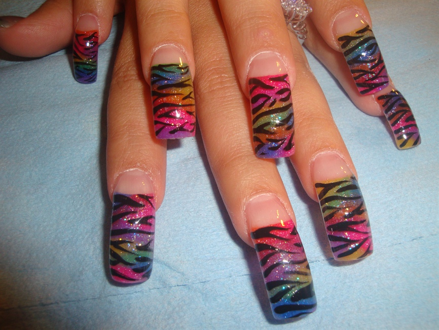 Colorful Zebra Nail Art Gallery
