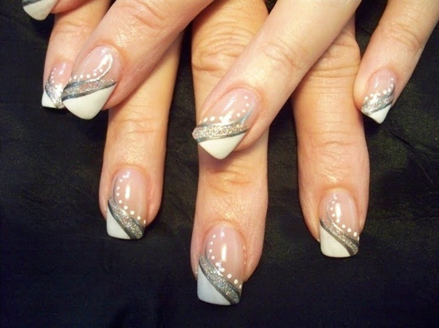 White and silver nail art gallery white and silver prinsesfo Images