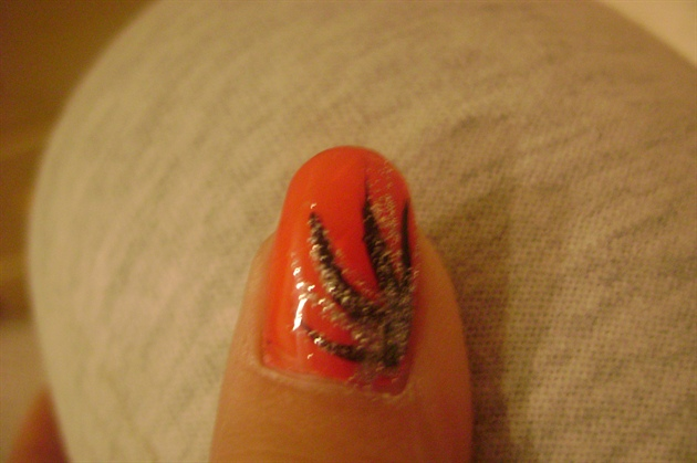 Orange With Black And Silver Design Nail Art Gallery