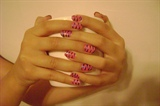 pink with blue zebra stripes