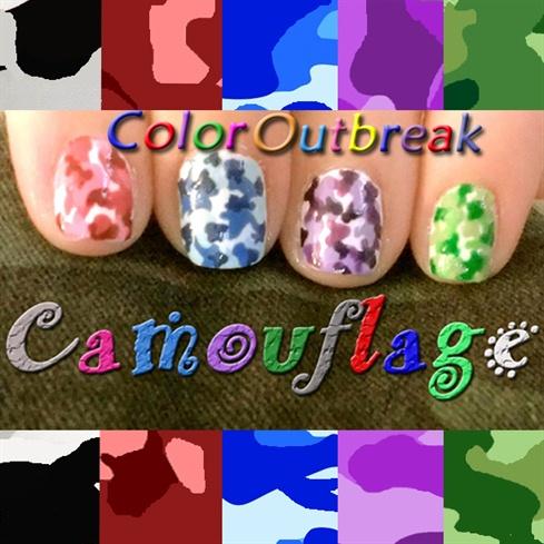 Camouflage Nail Art Design-Colorful Camo