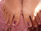 French Pedicure with Butterfly