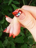 French Manicure with Red Ribbon