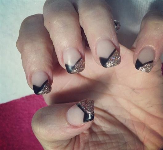 Black Glitter Tips