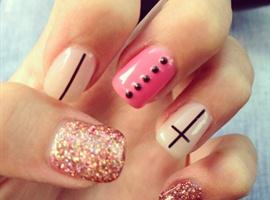 nail art: Cross And Rhinestones