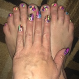 Two Sided Neon Shimmer--Toes