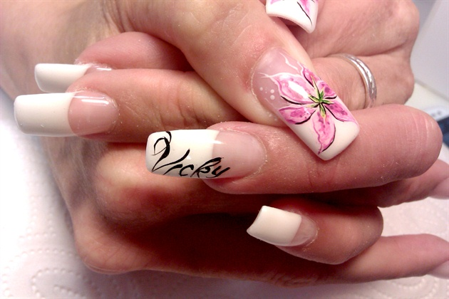 orchid flower with lettering