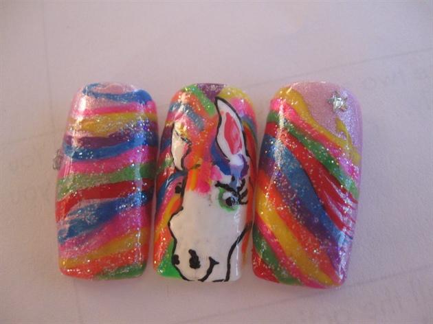 Lisa Frank Inspired Horse Nail Art