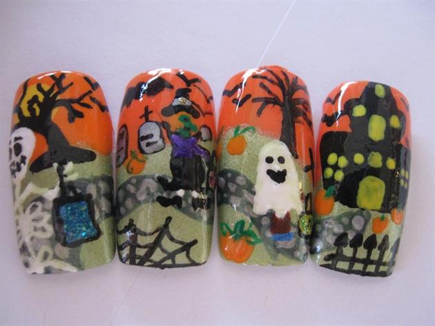 Trick or Treat Hallowen Nails