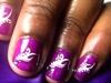 Purple & White Short Nails Design