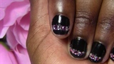 Nail Art Design:Black & Pink Rhinestones