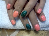 Coral with glitter accent nail