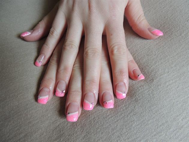 Pink glitter and rhinestones
