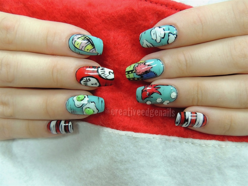 Dr Seuss Nails For Gelish Play At Home Nail Art Gallery Step By