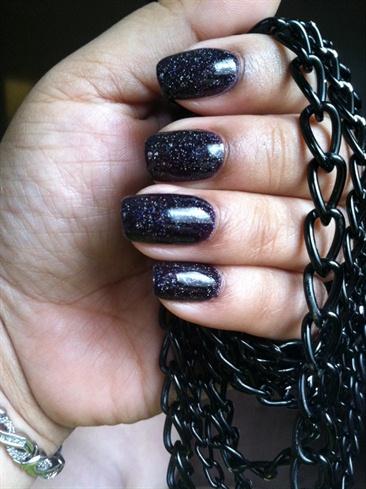 Black Sparkle Gel Manicure