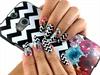 Black and White Chevron Flower Nails