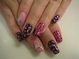 Black&Pink Leopard Mix Nails