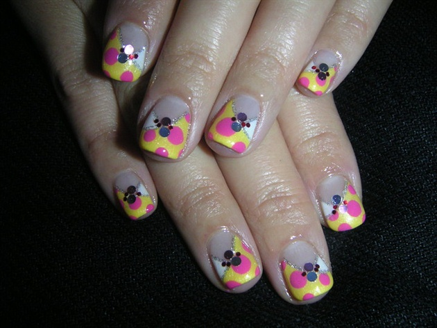 Cross French Polka Dots Nails
