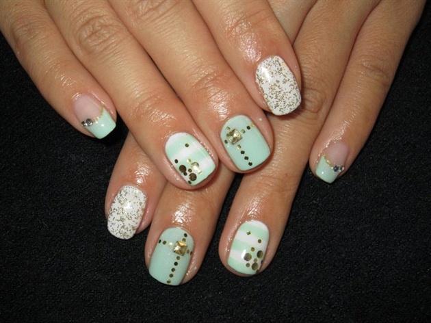 Light Green Mix Nails Nail Art Gallery