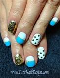 Blue & Gold Nails