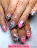 Pink x Grey check pattern nails