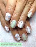 Green x White See-Through Nails